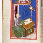 Miniatura di Omero che scrive l'Iliade, in un codece del 1415 circa